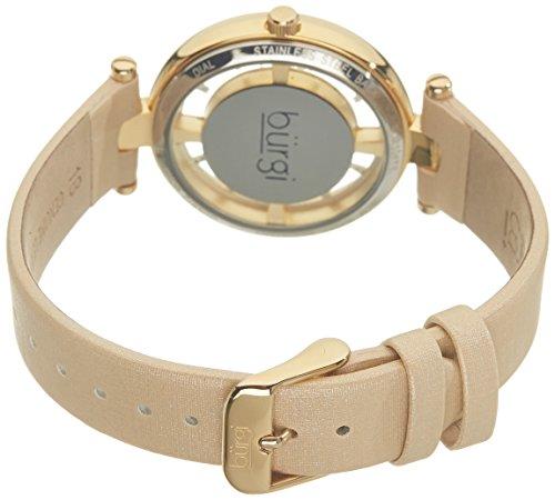 Burgi Women's BUR104 Rose Gold-Tone Diamond and Crystal Black Satin Strap Watch