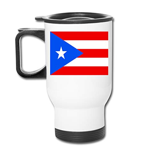 LINGMEI Travel Mug Flag of Puerto Rico Stainless Steel Thermos Cup Car Cup Water Bottle with Handle Auto Mug Tea Cup