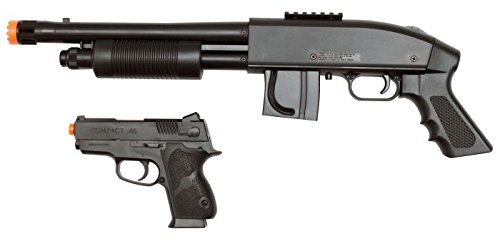 - Mossberg 590 Airsoft Pistol Grip Shotgun Kit with Spring .45 Pistol and 500 BBs