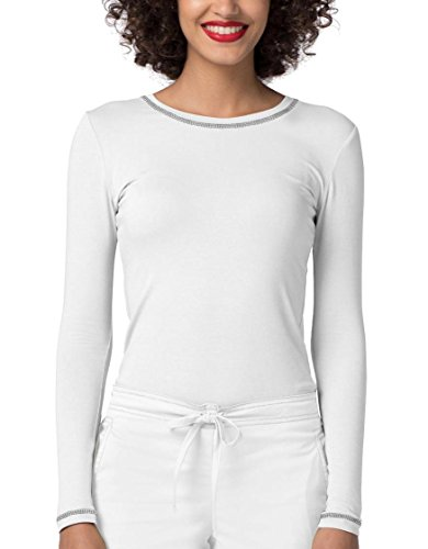 Adar Womens Comfort Long Sleeve Fitted T-Shirt Underscrub Tee- 3400 - White - S Cotton Stretch Long Sleeve Tee