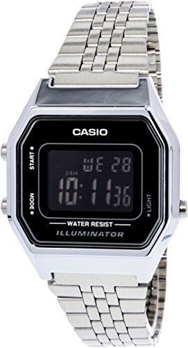 Casio Ladies Mid-Size Silver Digital Retro Watch LA-680WA-1BDF (Watch Spring Mid)
