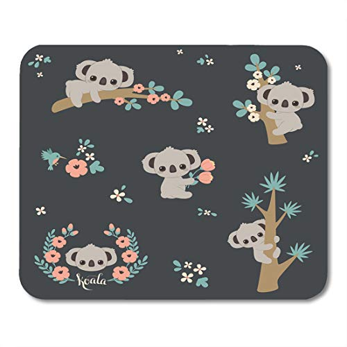 (Emvency Mouse Pads Cute Koala in Different Poses Climbing on Tree Laying Branch Holding Flowers Collection Bundle Mousepad 9.5