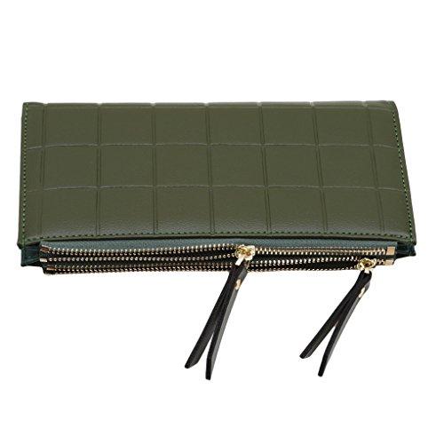 Zipper Bag Clasp Blue Clutch Embossed Fashion Purse Ladies Green Long BI4xnwq5P