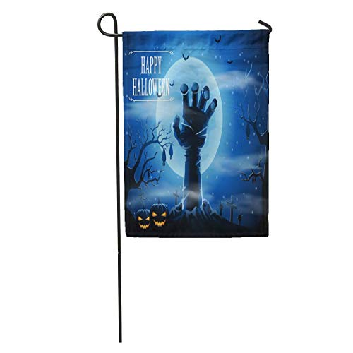 Nfuquyamluggage Garden Flag Hand Halloween Zombies and The Moon Scary Fear Creepy Undead Home Yard House Decor Barnner Outdoor Stand 12x18 Inches Flag]()