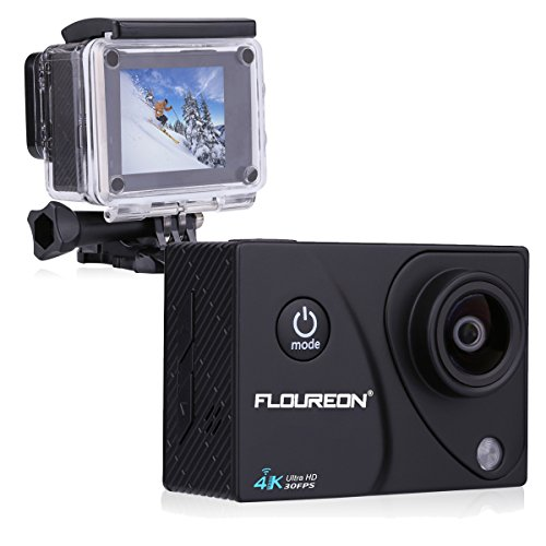Floureon A3 4K 30FPS 16MP Ultra HD Action Camera H.264 WIFI 2.0 Inch 170° 30M/98FT Waterproof Sports DV Cam (Black) Floureon