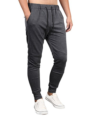 Kuulee Men's Casual Slim Fit Joggers Pants Gym Workout Running Trousers Fitness Activewear Sports Sweatpants Black Gray -