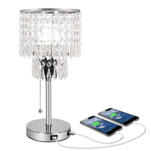 Silver Crystal Bedside Table Desk Lamp with Dual USB Charging Port, Acaxin Bedroom Lamps for Nightstand, Bling Elegant Shade Unique Pull Chain, Glam Lamps for Bedroom Living Room Dining Room