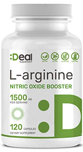 (Extra Strength L Arginine, 1500mg Nitric Oxide Booster Supplement for Muscle Growth, Libido, Vascularity & Energy with L-Citrulline and AAKG, Non-GMO, Made in USA )