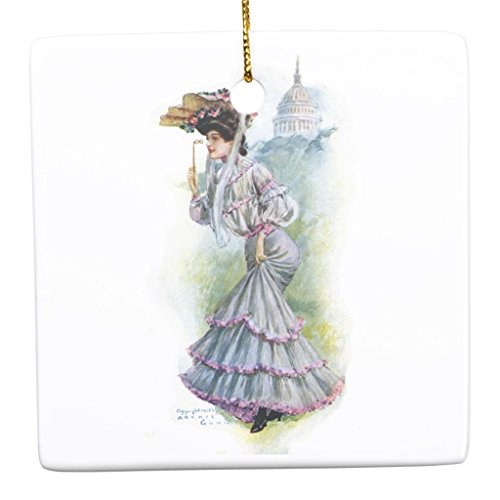 Zazzle Victorian Lady in Lavender Dress Ceramic Ornament Square
