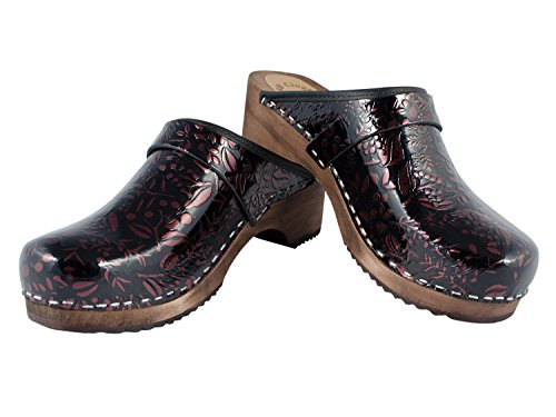 MB Clogs Polished leather clog Black/winered - Zuecos para mujer, color negro, talla 40