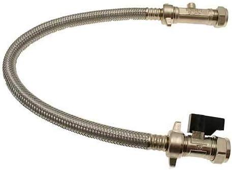 Combinación de llenado de caldera recto 15 mm Compresión Flexible Tapa de la manguera con doble Válvula de Comprobación Quarter Girn Palanca de acción Control de flujo