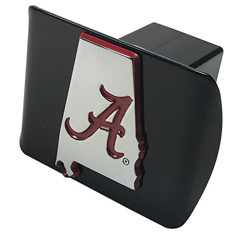 University of Alabama METAL State Shaped emblem (with Crimson trim) on black METAL Hitch Cover