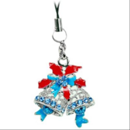 Cellet Christmas Phone Charm - Bell W/ Sparkling Blue (Cellet Christmas Phone Charm)