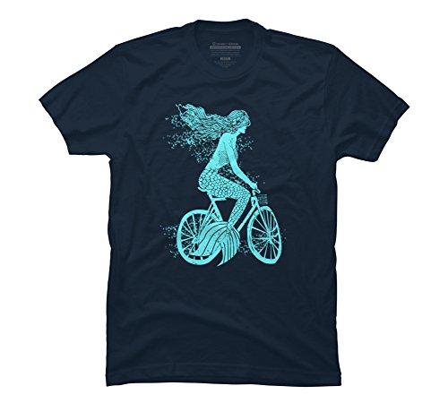 Mermaid on a Bike Men's 3X-Large Navy Graphic T Shirt - D...