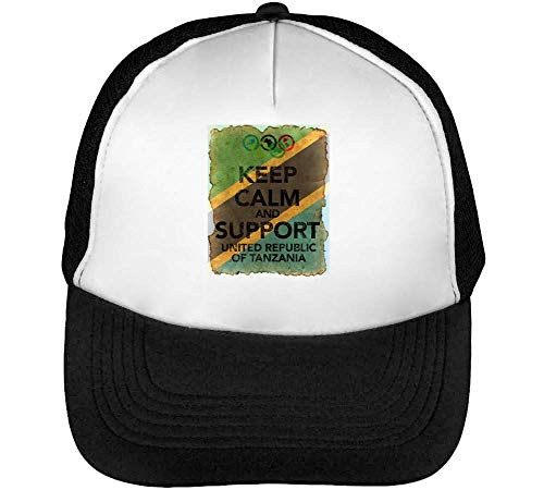 Vintage Keep Calm Support United Of Tanzania Flag Background Gorras Hombre Snapback Beisbol Negro Blanco