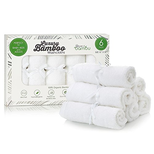 House of Bambu Bamboo Washcloths Baby Ultra Soft 6-Pack Set | 100% Organic Bamboo Baby Washcloth Set | Reusable Washcloth Bamboo Baby Wipes | Pure White Sensitive Skin | Baby Registry Bathing Gift Set by House of Bambu