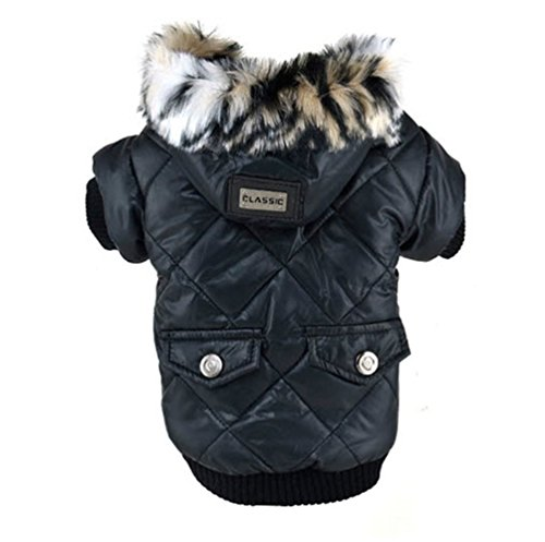 Pet Puppy Warm Coat Pockets Fur Trimmed Dog Hoodies Jacket Clothing (M, Black) (Italian Greyhound Dog Sweaters compare prices)