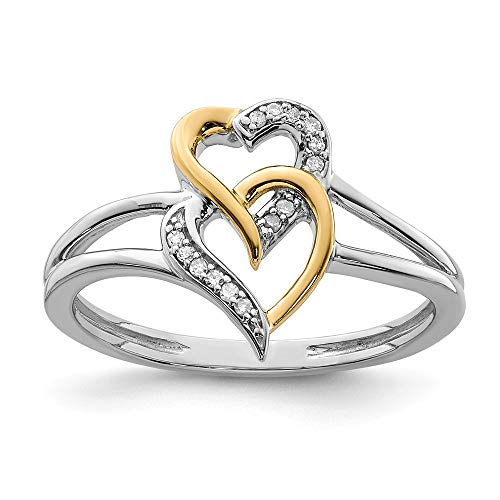 925 Sterling Silver 14k Two Tone Yellow Gold Diamond Double Hearts Band Ring Size 6.00 S/love Fine Jewelry Gifts For Women For Her
