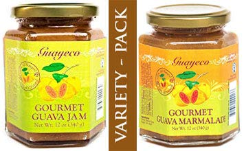 Guava Gourmet Variety Pack - Guava Jam and Marmalade (12oz jars), Fresh Tropical Guava Fruit, All-Natural, Non-GMO, Vegan, Gluten and Cholesterol-Free, No Fillers or Preservatives, Kosher