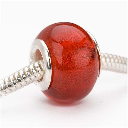 Beadaholique Murano Style 14mm Glass Silver Foil Lampwork Bead Fits Pandora, Red