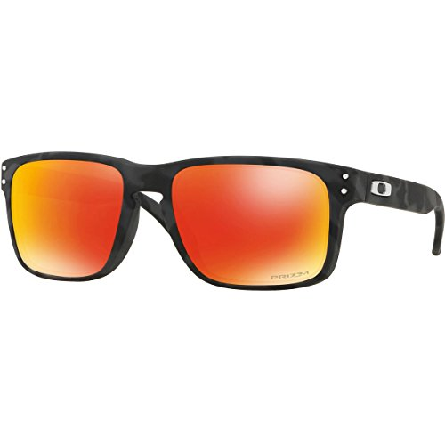 Oakley Men's OO9102 Holbrook Square Sunglasses, Black Camo/Prizm Ruby, 57 mm (Oakley Orange Sunglasses)