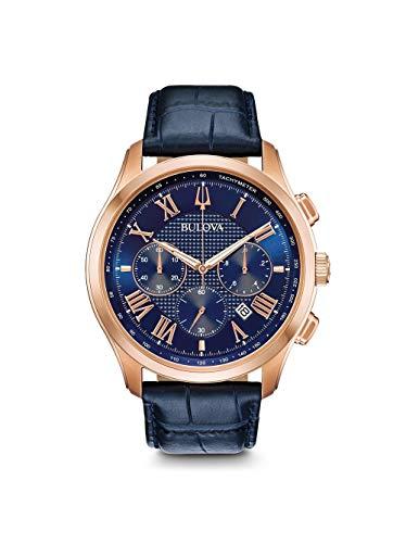 Bulova Leather Clock - Bulova Men's Wilton - 97B170 Blue One Size