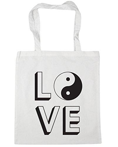 White 42cm Beach Shopping Yang Yin litres Bag Love 10 x38cm HippoWarehouse Gym Tote wZ7BqT