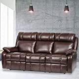 BestMassage Recliner Sofa Leather Sofa Recliner Couch Manual Reclining Sofa Recliner Chair, Love Seat,and Sofa (3 Seater) for Living Room