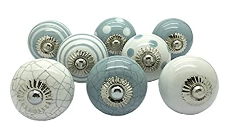 G Decor Set Of 8 Grey U0026 White Ceramic Door Knobs Vintage Shabby Chic  Cupboard Drawer