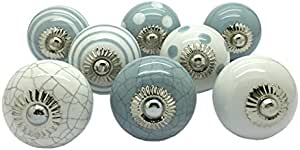 G Decor England Set of 8 Grey, White Ceramic Door Knobs Contemporary Cabinet Pulls for Cabinets, Drawers and Dressers–Decorative Drawer Knobs for Living Room, Bathroom Fixtures, or Kitchen Cabinetry