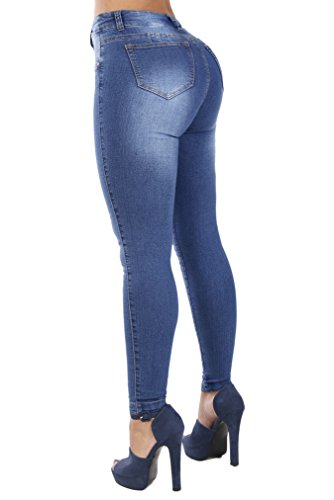(Curvify Classic High Rise Skinny Jeans| Pantalones Colombianos Talle Alto (768, Indigo Washed, 7))