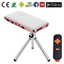 Yuancin 32GB Mini Smart Android Pico Projector-Features with HDMI Input and Vertical Keystone Correction - Miracast and Airplay-Slim Wireless Portable Pocket Cell Home Cinema Theater Projector (32GB HDMI INPUT)