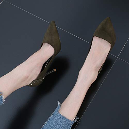 Fresh KPHY Rivets High Shoes Sexy Small Thin Wedding Sharp Shallow Black Joker Fashion 9Cm Heeled Shoes BpBHWFaU
