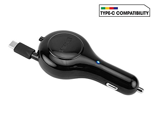"Price comparison product image Professional Retractable 3T 3A Car Charger with ""One-Touch"" rapid button system! (15 Watts / BLACK)"