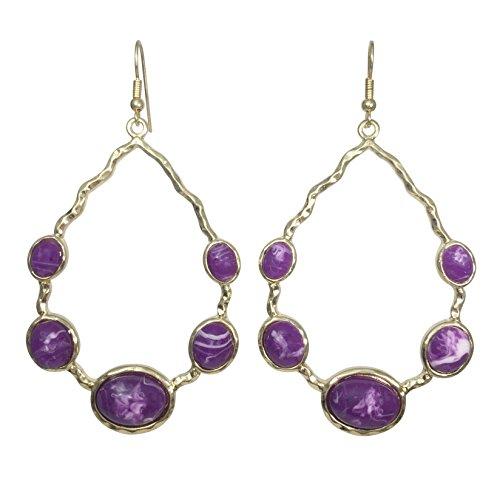 Large Open Teardrop Gold Tone Earrings - Assorted Colors (Purple) (Purple Swirl Earrings)
