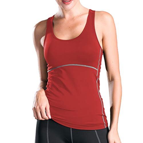 Womens Clothes Racerback Tank Top Double-Decked Shock-Proof Sports Waistcoat-Shaped Yoga Tops Red