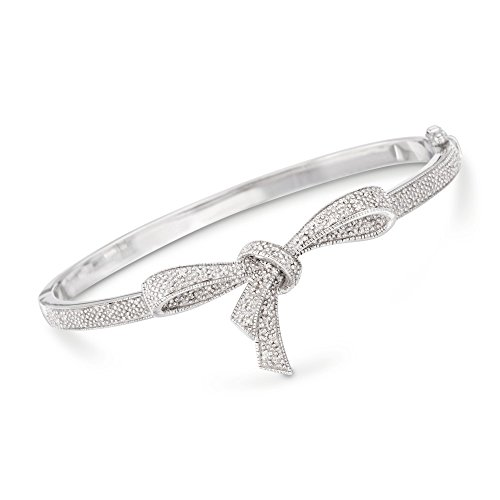 Ross-Simons 0.15 ct. t.w. Diamond Bow Bangle Bracelet in Sterling -