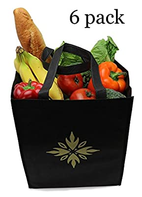 Reusable grocery bags-tote bags- premium quality- large- reinforced, Double-stitched handles-Black- pack of 6