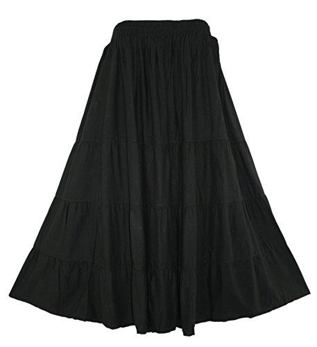 Beautybatik Black BOHO Gypsy Long Maxi Tiered Skirt 2X