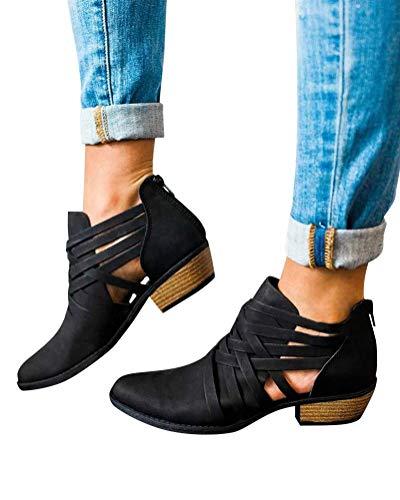 Ankle Autunno Boots Incavare Estate Martin Elegante Donna Stivali Moda Chic Tacco Scarpe Classici Nero Minetom Stivaletti Cerniera Bloccare 1Uwf6Anqn