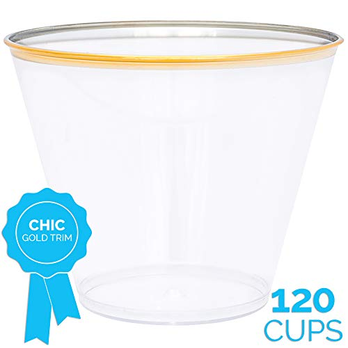 Gold Plastic Disposable Party Cups (120 x 9 oz) - Elegant Gold Rim Trim Clear Cup - Fancy Reusable Rimmed Glass Tumblers For Birthday, Wedding, Bar Parties Decoration Supplies - Golden Trimmed Glasses