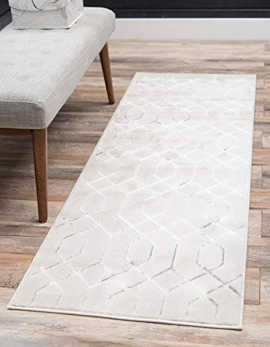 Covering Rug Floor White - Unique Loom Marilyn Monroe Glam Collection Textured Geometric Trellis White Silver Runner Rug (2' x 10')