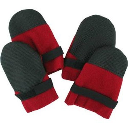 (Muttluks-Hott Doggers Light Duty Fleece Lined Dog Boots, Set of 4 - Red, XIB up to)