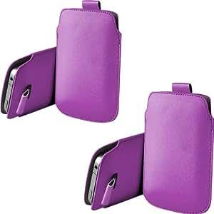ONX3 Twin Pack Nokia Lumia 630 PU de cuero protector Tab Pouch Funda Piel tirón (púrpura)