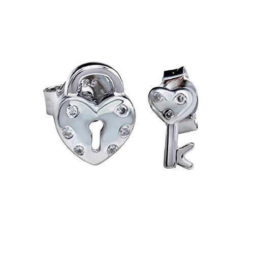 SURANO DESIGN JEWELRY Sterling Silver CZ Stones Heart Padlock & Key Stud Earrings
