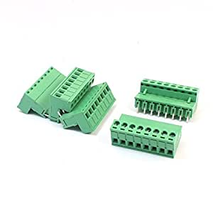 5 piezas de 5.08 mm 8-Pin Terminal enchufable Tipo verde tornillo del bloque de 300V 16A