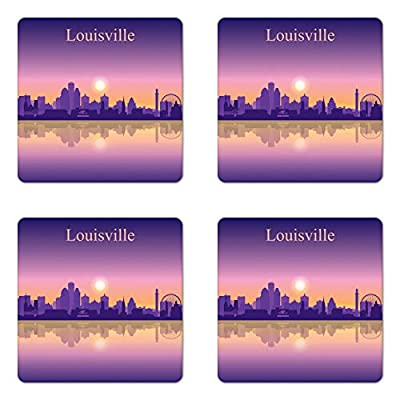 Lunarable Kentucky Coaster Set of Four, City Silhouette Purple with Ombre Effect Sunset in Louisville, Square Hardboard Gloss Coasters for Drinks, Pale Orange Pale Mauve Purple