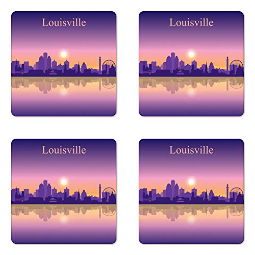 Lunarable Kentucky Coaster Set of Four, City Silhouette Purple with Ombre Effect Sunset in Louisville, Square Hardboard Gloss Coasters for Drinks, Pale Orange Pale Mauve ()