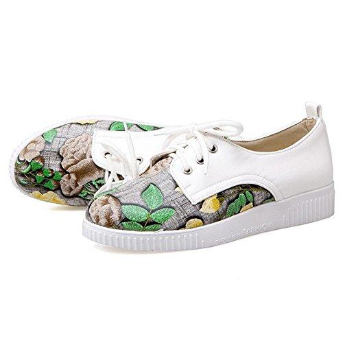 Coolcept Zapatos Atados para Chicas y Mujeres Beige