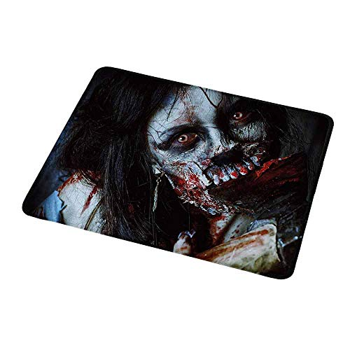 Gaming Mouse Pad Zombie,Scary Dead Woman with a Bloody Axe Evil Fantasy Gothic Mystery Halloween Picture,Custom Non-Slip Mouse Mat 9.8